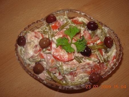 Salat mit Schnittbohnen und Kochschinken (chinesiche Art, mit Foto)